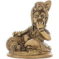 Aone India Brass Lord Bal Krishna / Gopal Idol Statue (4.5 X 4 X 4.5 Cm, Gold) + Cash Envelope (Pack Of 10)