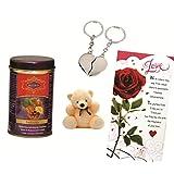 Skylofts Fruit N Nut Chocolate Gift Box With A Cute Teddy, A Love Card & A Heart Key Ring