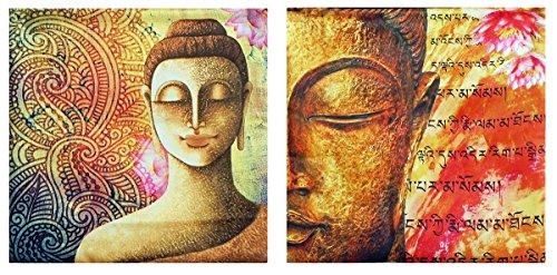 DollsofIndia Pair Of Satin Cushion Covers With Buddha Print - Satin Silk
