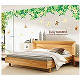Decals Arts Beautiful Green Flower Set Wall Sticker