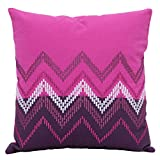 Elan Cotton Cushion Covers Ikat Purple Embroidery Cushion Cover 40 X 40 CM (Purple)