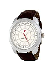 Swiss Trend Stylish Mens Watch With Brown Leather Strap And White Dial(Artshai1649-Ele...