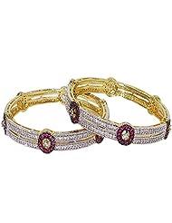 Anjan Traditional Golden Diamonds Studded Bangles For Women_ANJ347B15