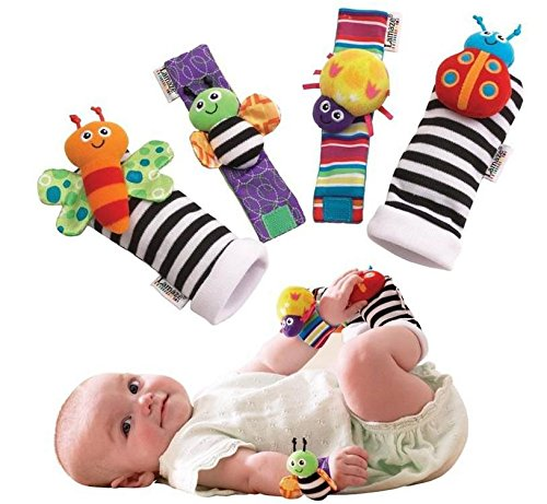 Makarine 4 x Baby Infant Soft Toy Wrist Rattles