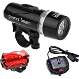 Futaba Bicycle Speedometer ,5 LED Mountain Cycling Head Light And Bicycle Rear Light Lamp Combo