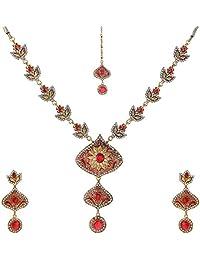 Sharnam E Mall Golden/Orange Brass Necklace Set For Women (SEM-32)