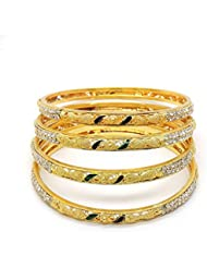 ESHOPITUDE SUKKHI CZ GOLD PLATED BANGLES SIZE 2.6 (PACK OF 4PC) FOR WOMEN
