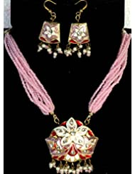 Exotic India Pink Star-Spangled Necklace And Earrings With Peacocks On Reverse - Lacquer With Cut Gl