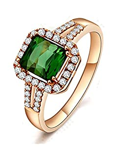 1.50 Carat cushion cut Emerald and Diamond Engagement Ring in Rose Gold