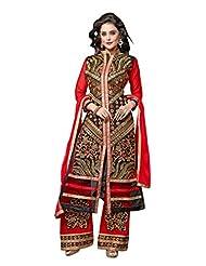 Trendz Apparels Red 60 Gm Georgette Straight Cut Salwar Suit - B012I8TAIY