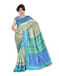 Fabdeal Beige & Sky Net Silk Printed Saree Sari Sarees
