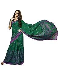 Fashionable Green Colored Printed Crape Saree By Triveni