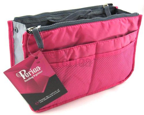 Periea - Organiseur de sac à main, 12 Compartiments - Chelsy (Rose brillant, Moyen: H17.5 x L28 x P2-16cm)