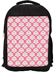 """Snoogg Abstract White Pink Pattern 2 Casual Laptop Backpak Fits All 15 - 15.6"""" Inch Laptops"""