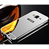 AE Luxury Metal Bumper + Acrylic Mirror Back Cover Case For SAMSUNG GALAXY J2 SILVER PLATED