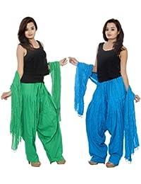 PMS Pure Cotton Semi Patiala Salwar With Dupatta Combo Pack Of 2