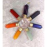 Healing Crystals India -Large 7 Sided Chakra Energy Generator, Reiki, 8 Stone & Quartz Crystal Pyramid