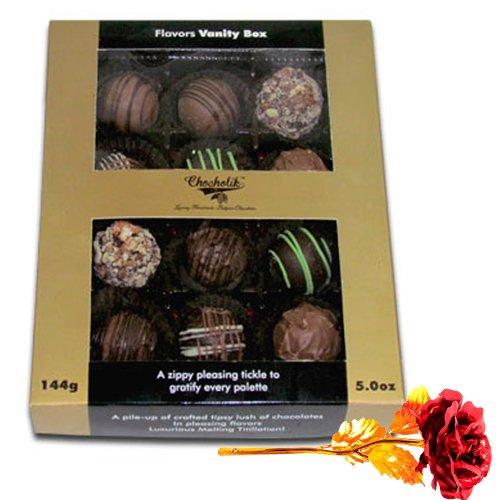 Glorious Truffle Treat With 24k Red Gold Rose - Chocholik Belgium Chocolates