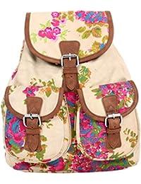 Pick Pocket Ecru, Pink And Green Floral Canvas Back Pack