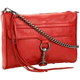 Rebecca Minkoff Clutch With Chain Strap,Red,one size