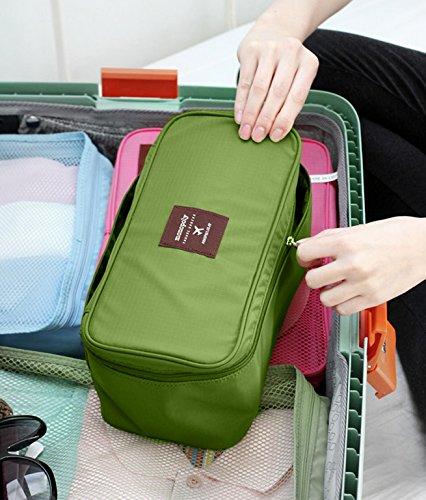 Multi-Functional Travel Organizer Cosmetic Make-up Bag Portable Luggage Storage Case Bra Underwear Pouch (Green)