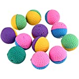 Rrimin 12 Pcs Funny Colorful Soft Latex Feathered Ball Toys Pet Cat And Dog Toys