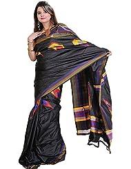 Exotic India Licorice-Black Double Ikat Sari From Pochampally With Hand- - Black