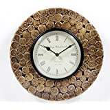 """Home And Bazaar Traditional Rajasthani Wall Clock With Brass Coin Finish 12"""""""