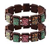 Wood Bracelet Animal Print On Brown Wood Elastic - Set Of 2