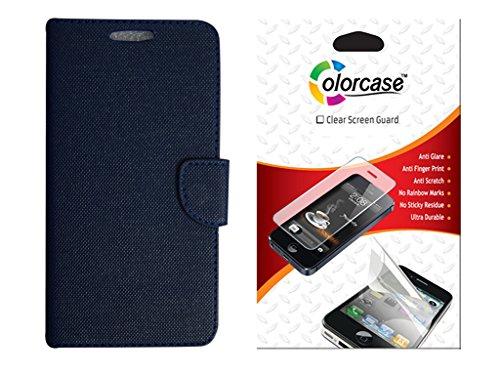Colorcase Flip Cover Case For Micromax Yu Yunique - Blue With Screenguard
