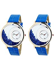 Bollywood Designer Stylish Free Diamond Dial Fancy Leather Watch For Girls And Women Pack Of 2 (Blue-Blue)