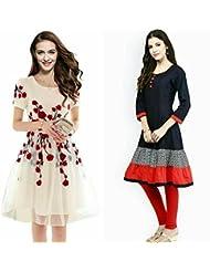 Sky Global Women's Regular Wear Kurti (Combo Pack Of 2)(SKY_KC_6004)(Sky_Kurti_7006_Off-White)(SKY_Kurti_7026)