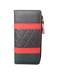 Style98 Black And Red Traveller Genuine Leather Tri Fold Money Wallet With 10 Card Slots For Women And Girls - B016ZYW7F0