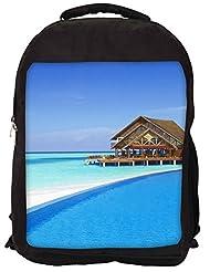 Snoogg Digit Bit Heart Pattern Backpack Rucksack School Travel Unisex Casual Canvas Bag Bookbag Satchel