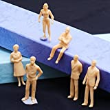 TOOGOO(R) 100pcs Unpainted Model Train People Figures Scale O (1 to 50)