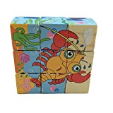 Rolimate Ocean Animals Wooden Cube Block Jigsaw Puzzles (Dolphins, Octopus, Sea Turtles, Crabs, Sharks, Lobster) Best Toys for 1 2 3 Years Old Toddlers Kids