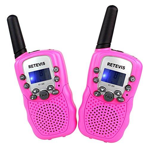 Retevis RT-388 Niños Walkie-talkie UHF 446MHz 8 Canales 0.5W con pantalla LCD y Linterna Incorporado Radio de Juguete Portátil y Aficionado (Rosa, 1 par)