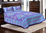 Jaipuri haat Cotton Double Bed sheet with 2 Pillow Covers- Sky Blue