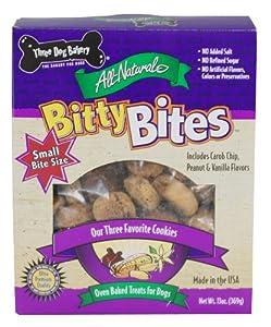 Three Dog Bakery Bitty Bites, Baked Dog Treats, Assorted