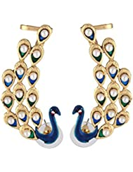 Deco Junction American Diamond Studded Antique Multi Colour Plated Peacock Ear Cuff Pair Earring