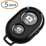 Camera Shutter Remote Pack Of 5 WOVTE Bluetooth Wireless Remote Control Camera Shutter Release Self Timer For IPhone5 4 IPad Samsung Galaxy Note Sony And Other IOS Android Phones - Black