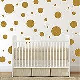 Assorted Vinyl Polka Dots Circle Wall Decals Vinyl Stickers Nursery Decor (Gold/set Of 32)