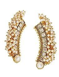 Shining Diva 22k Gold Plated Festive American Diamond Pearl Ear Cuff Pair Earring For Women