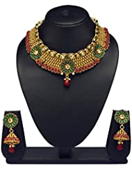 VK Jewels Magnificent Gold Plated Choker Necklace With Earrings- NKS1167G [VKNKS1167G]