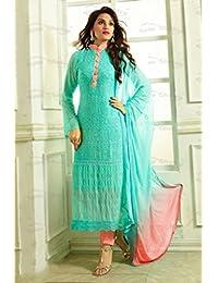 1 Stop Fashion Blue Semi Stitched Chiffon Straight Cut Salwar Suit
