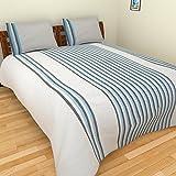 MGM KHADI 35 TC Khadi Cotton Double Bedsheet With 2 Pillow Covers - Stripe, King Size, White
