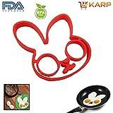 KARP™ Rabbit Shape Silicone Fried Egg Mold Pancake Rings, Non Stick Bakeware Accessories Kitchen Toolsm,BPA Free...