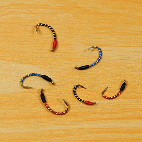 Generic Red Hed Black Body, 12 : [10 PCS] #12 #10 #14 Red Black Bluee Buzzer Nymph Fly For Trout Fishing / Saltwater Sabiki Rig Making Baits / Hegene Lure Hooks