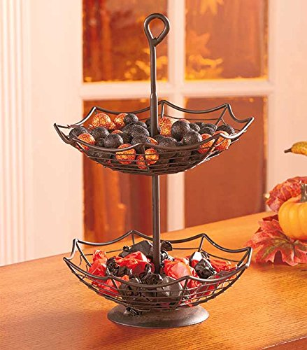 Spider Web Bowl Treats Candy Holder Halloween Kitchen Decor