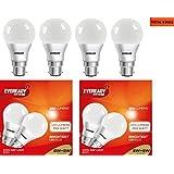 Eveready Base B22D 8-Watt LED Bulb (Cool Day Light) - SPL.COMBO Pack Of 2 (Total 4 Bulbs)